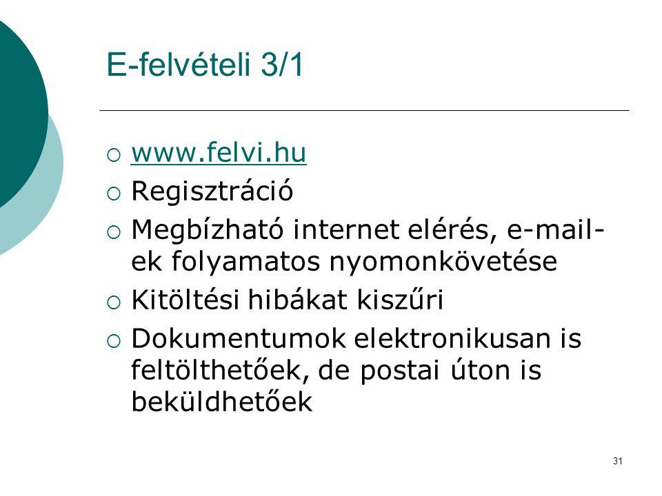 31 E-felvételi 3/1  www.felvi.hu www.felvi.hu  Regisztráció  Megbízható internet elérés, e-mail- ek folyamatos nyomonkövetése  Kitöltési hibákat k