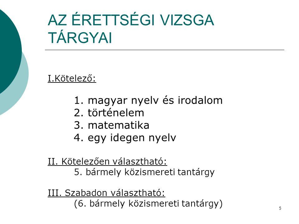 5 AZ ÉRETTSÉGI VIZSGA TÁRGYAI I.Kötelező: 1. magyar nyelv és irodalom 2. történelem 3. matematika 4. egy idegen nyelv II. Kötelezően választható: 5. b