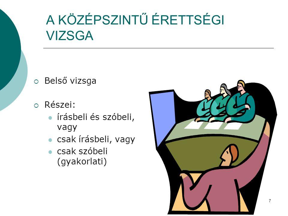 8  Írásbeli:  180 perc, kivétel a magyar nyelv és irodalom, amely 240 perc  a központi feladatlapot a szaktanár javítja  Szóbeli:  szaktanár állítja össze  a felelet maximum 15 perc