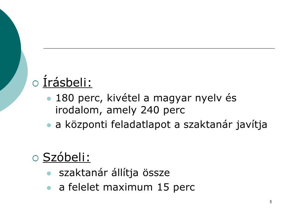 8  Írásbeli:  180 perc, kivétel a magyar nyelv és irodalom, amely 240 perc  a központi feladatlapot a szaktanár javítja  Szóbeli:  szaktanár állí