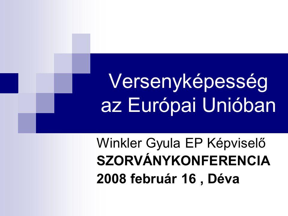 Versenyképesség az Európai Unióban Winkler Gyula EP Képviselő SZORVÁNYKONFERENCIA 2008 február 16, Déva