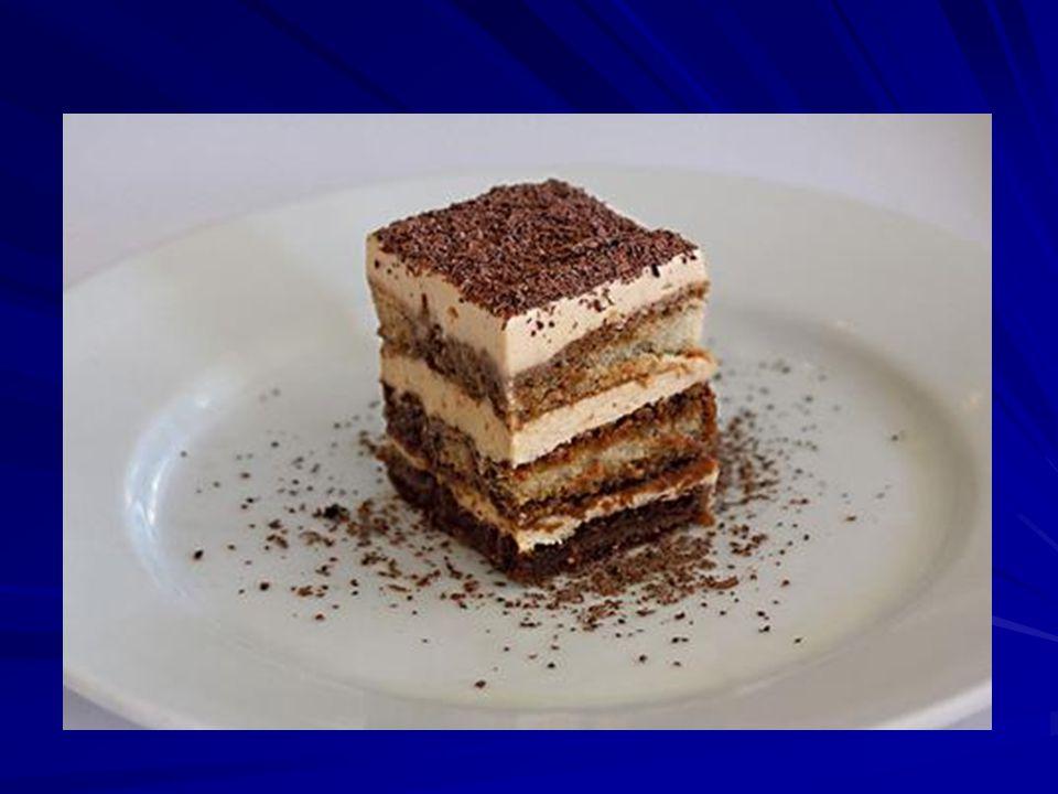 Tiramisu A tiramisu olasz desszert, amely általában az alábbiakból készül: babapiskóta, feketekávé, mascarpone sajt, tejszín, cukor, marsala bor és kakaópor.