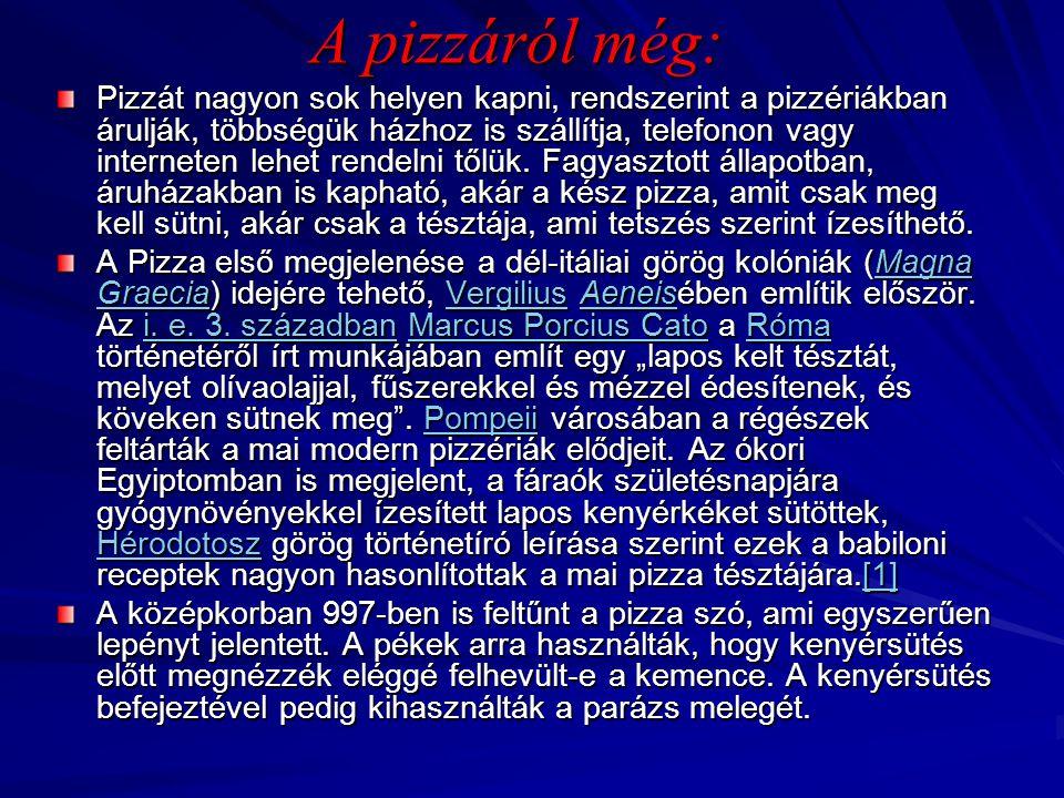 A pizzáról még: Pizzát nagyon sok helyen kapni, rendszerint a pizzériákban árulják, többségük házhoz is szállítja, telefonon vagy interneten lehet ren