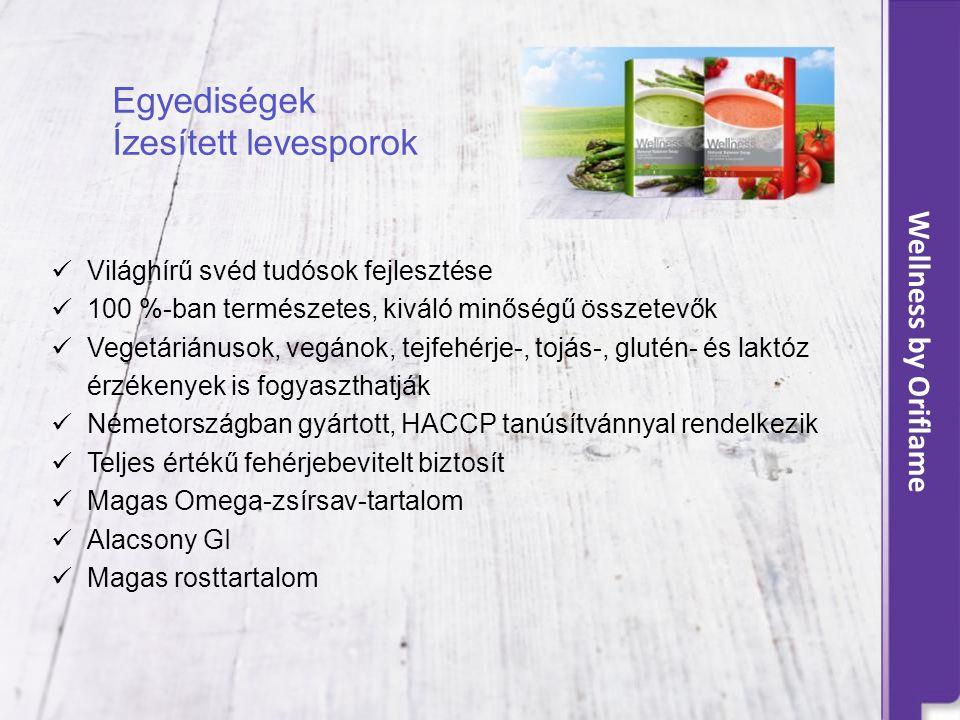 Wellness by Oriflame Egyediségek Ízesített levesporok  Világhírű svéd tudósok fejlesztése  100 %-ban természetes, kiváló minőségű összetevők  Vegetáriánusok, vegánok, tejfehérje-, tojás-, glutén- és laktóz érzékenyek is fogyaszthatják  Németországban gyártott, HACCP tanúsítvánnyal rendelkezik  Teljes értékű fehérjebevitelt biztosít  Magas Omega-zsírsav-tartalom  Alacsony GI  Magas rosttartalom