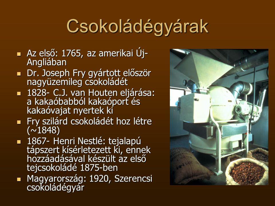 Csokoládégyárak  Az első: 1765, az amerikai Új- Angliában  Dr. Joseph Fry gyártott először nagyüzemileg csokoládét  1828- C.J. van Houten eljárása: