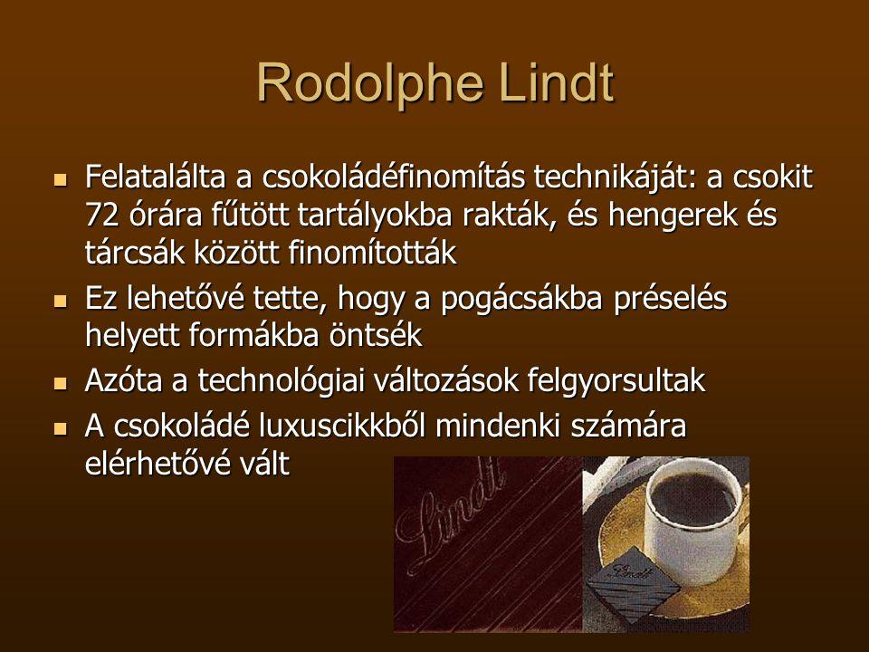 Rodolphe Lindt  Felatalálta a csokoládéfinomítás technikáját: a csokit 72 órára fűtött tartályokba rakták, és hengerek és tárcsák között finomították