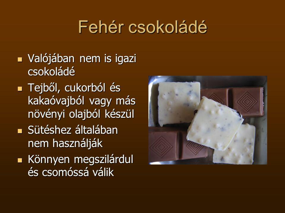 Fehér csokoládé  Valójában nem is igazi csokoládé  Tejből, cukorból és kakaóvajból vagy más növényi olajból készül  Sütéshez általában nem használj