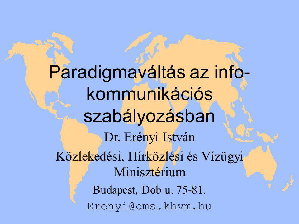 Paradigmaváltás az info- kommunikációs szabályozásban Dr.