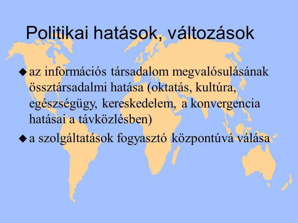 Politikai hatások, változások u az információs társadalom megvalósulásának össztársadalmi hatása (oktatás, kultúra, egészségügy, kereskedelem, a konvergencia hatásai a távközlésben) u a szolgáltatások fogyasztó központúvá válása