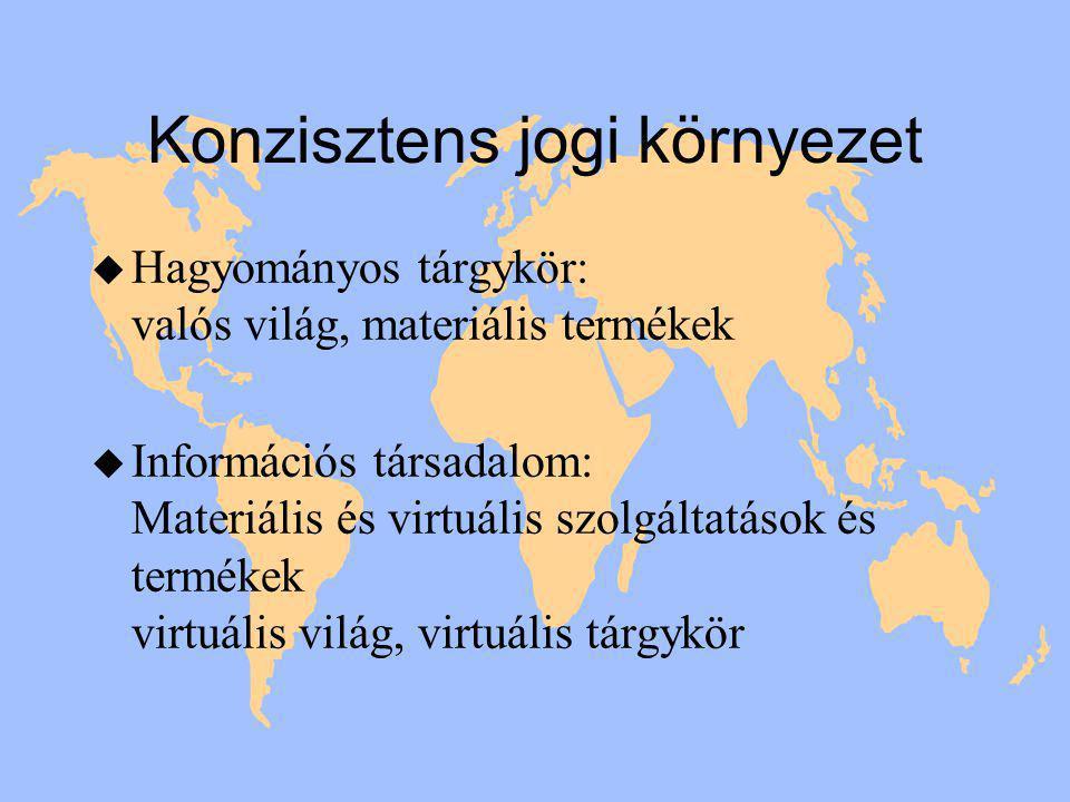 Konzisztens jogi környezet u Hagyományos tárgykör: valós világ, materiális termékek u Információs társadalom: Materiális és virtuális szolgáltatások és termékek virtuális világ, virtuális tárgykör