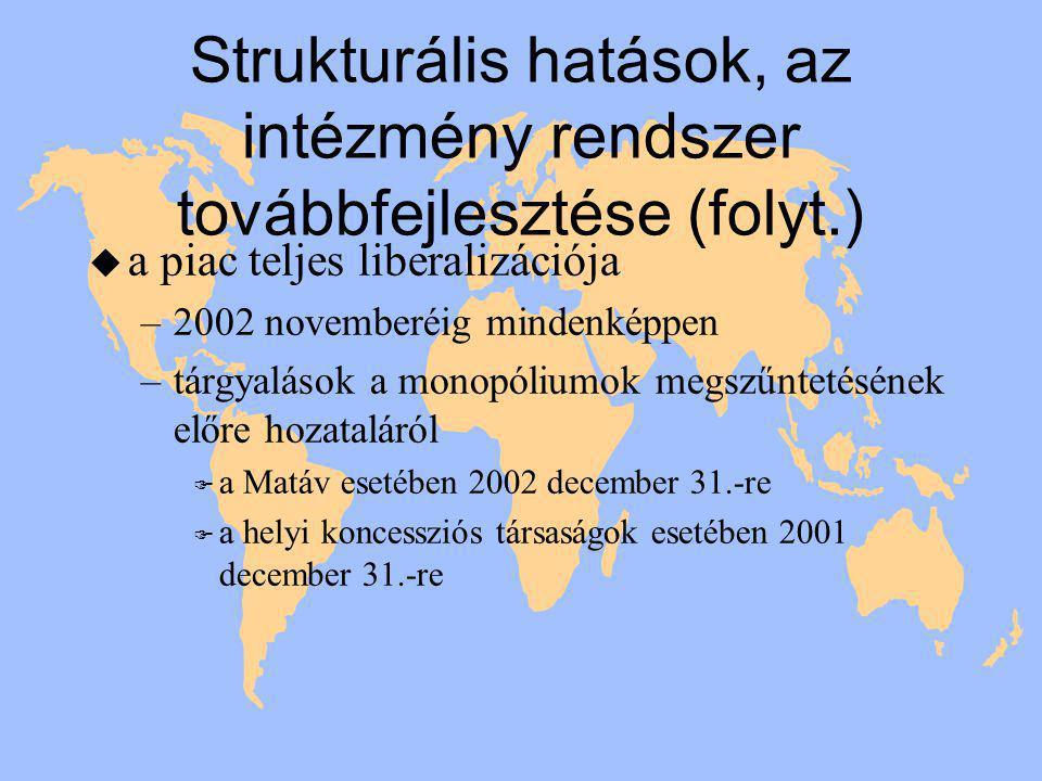 Strukturális hatások, az intézmény rendszer továbbfejlesztése (folyt.) u a piac teljes liberalizációja –2002 novemberéig mindenképpen –tárgyalások a monopóliumok megszűntetésének előre hozataláról F a Matáv esetében 2002 december 31.-re F a helyi koncessziós társaságok esetében 2001 december 31.-re