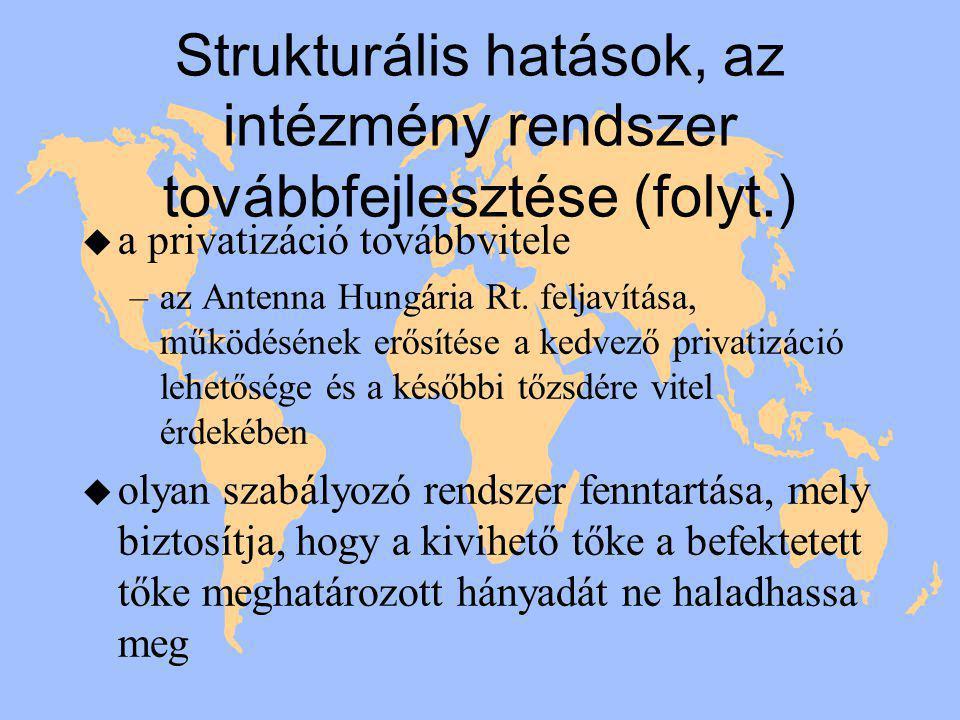 Strukturális hatások, az intézmény rendszer továbbfejlesztése (folyt.) u a privatizáció továbbvitele –az Antenna Hungária Rt.