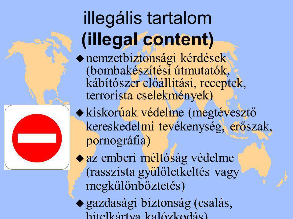 illegális tartalom (illegal content) u nemzetbiztonsági kérdések (bombakészítési útmutatók, kábítószer előállítási, receptek, terrorista cselekmények) u kiskorúak védelme (megtévesztő kereskedelmi tevékenység, erőszak, pornográfia) u az emberi méltóság védelme (rasszista gyűlöletkeltés vagy megkülönböztetés) u gazdasági biztonság (csalás, hitelkártya kalózkodás)