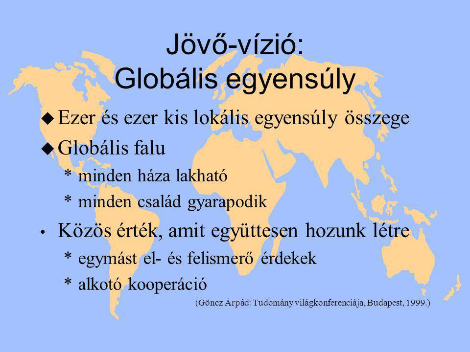 Jövő-vízió: Globális egyensúly u Ezer és ezer kis lokális egyensúly összege u Globális falu *minden háza lakható *minden család gyarapodik • Közös érték, amit együttesen hozunk létre *egymást el- és felismerő érdekek *alkotó kooperáció (Göncz Árpád: Tudomány világkonferenciája, Budapest, 1999.)