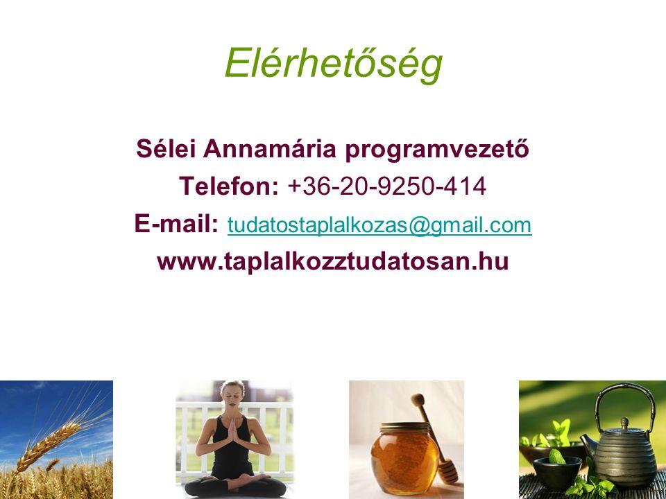 Elérhetőség Sélei Annamária programvezető Telefon: +36-20-9250-414 E-mail: tudatostaplalkozas@gmail.com tudatostaplalkozas@gmail.com www.taplalkozztudatosan.hu