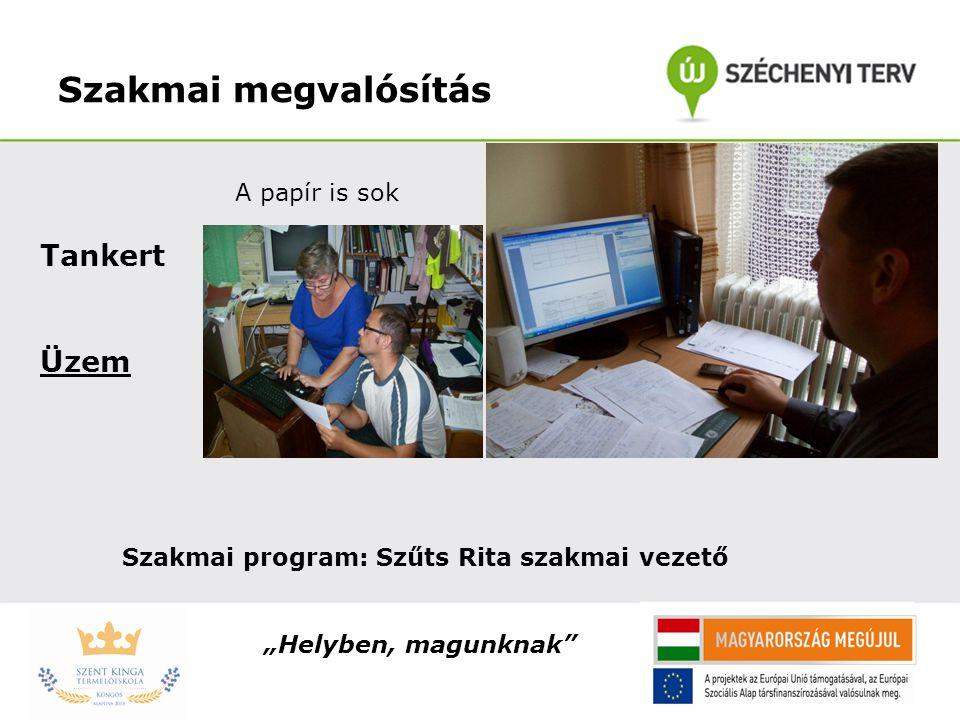 """Szakmai megvalósítás Tankert Üzem A papír is sok Szakmai program: Szűts Rita szakmai vezető """"Helyben, magunknak"""""""