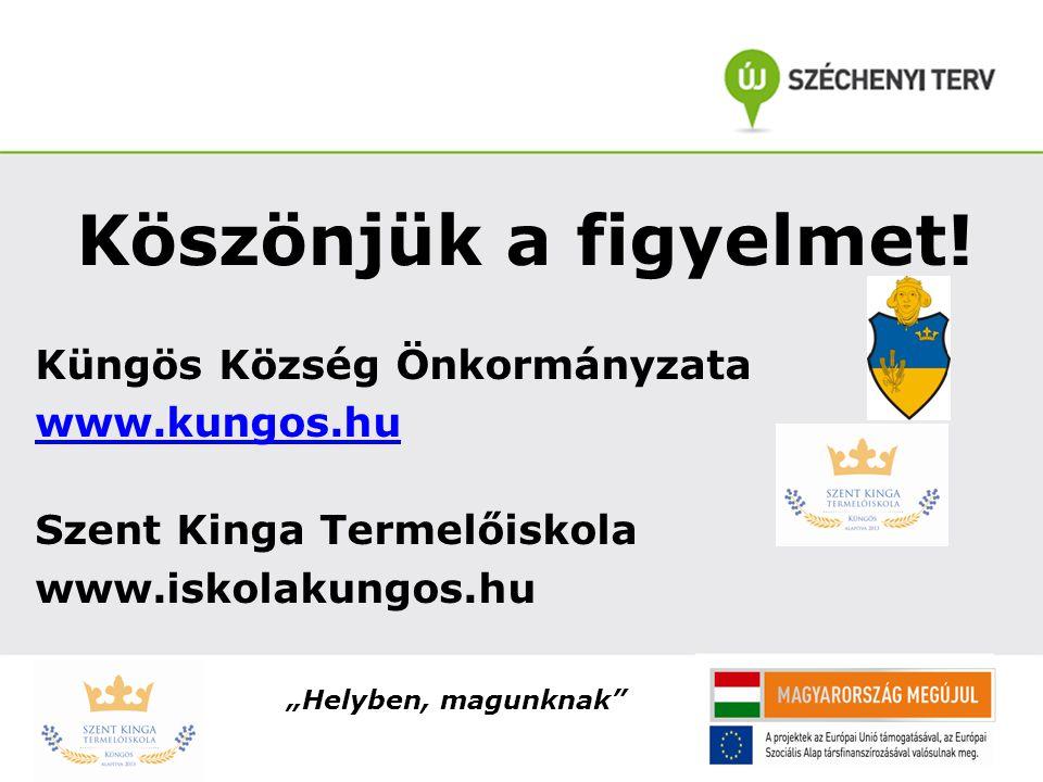 """Köszönjük a figyelmet! Küngös Község Önkormányzata www.kungos.hu Szent Kinga Termelőiskola www.iskolakungos.hu """"Helyben, magunknak"""""""