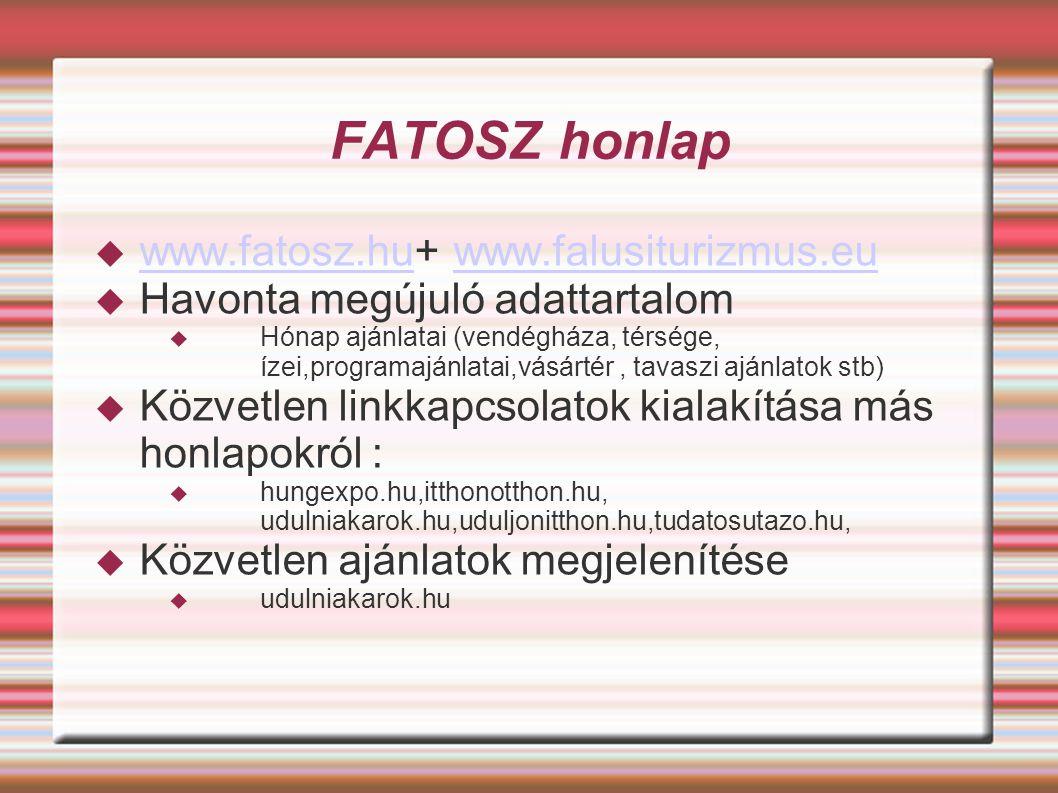 FATOSZ honlap  www.fatosz.hu+ www.falusiturizmus.eu www.fatosz.huwww.falusiturizmus.eu  Havonta megújuló adattartalom  Hónap ajánlatai (vendégháza, térsége, ízei,programajánlatai,vásártér, tavaszi ajánlatok stb)  Közvetlen linkkapcsolatok kialakítása más honlapokról :  hungexpo.hu,itthonotthon.hu, udulniakarok.hu,uduljonitthon.hu,tudatosutazo.hu,  Közvetlen ajánlatok megjelenítése  udulniakarok.hu