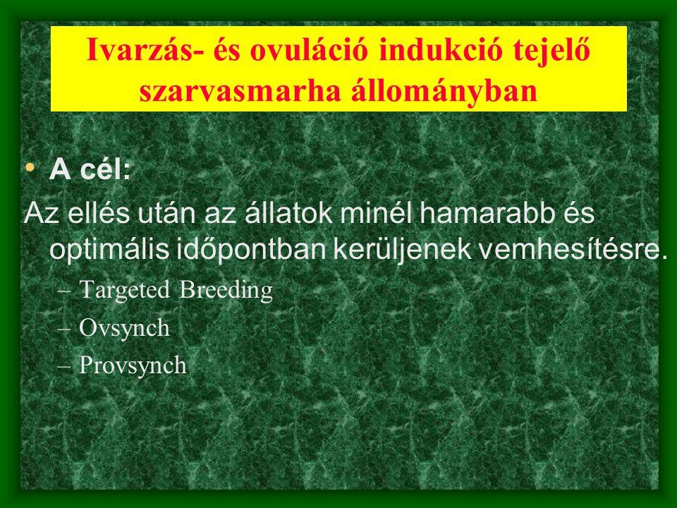 Ivarzás- és ovuláció indukció tejelő szarvasmarha állományban • A cél: Az ellés után az állatok minél hamarabb és optimális időpontban kerüljenek vemh