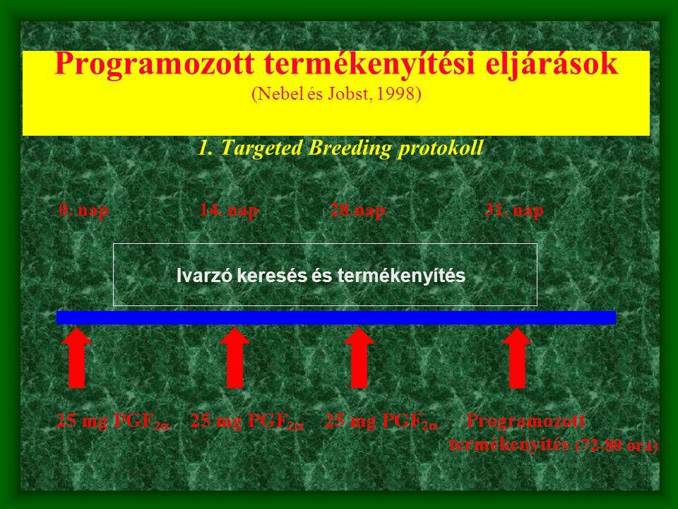 Programozott termékenyítési eljárások (Nebel és Jobst, 1998) 1. Targeted Breeding protokoll 0. nap 14. nap28.nap 31. nap Ivarzó keresés és termékenyít