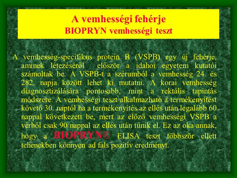 A vemhességi fehérje BIOPRYN vemhességi teszt A vemhesség-specifikus protein B (VSPB) egy új fehérje, aminek létezéséről először a idahoi egyetem kuta