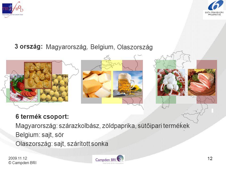 SIXTH FRAMEWORK PROGRAMME 2009.11.12 © Campden BRI 12 3 ország: Magyarország, Belgium, Olaszország 6 termék csoport: Magyarország: szárazkolbász, zöld