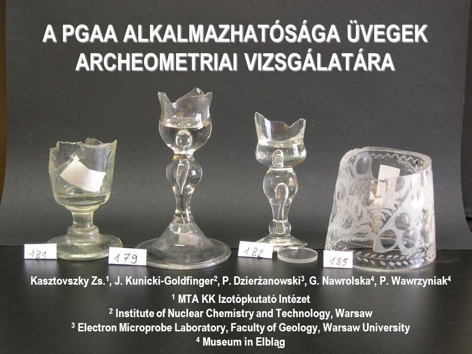 A PGAA ALKALMAZHATÓSÁGA ÜVEGEK ARCHEOMETRIAI VIZSGÁLATÁRA Kasztovszky Zs. 1, J. Kunicki-Goldfinger 2, P. Dzierżanowski 3, G. Nawrolska 4, P. Wawrzynia