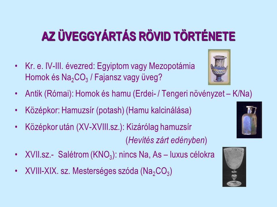 AZ ÜVEGGYÁRTÁS RÖVID TÖRTÉNETE •Kr. e. IV-III. évezred: Egyiptom vagy Mezopotámia Homok és Na 2 CO 3 / Fajansz vagy üveg? •Antik (Római): Homok és ham