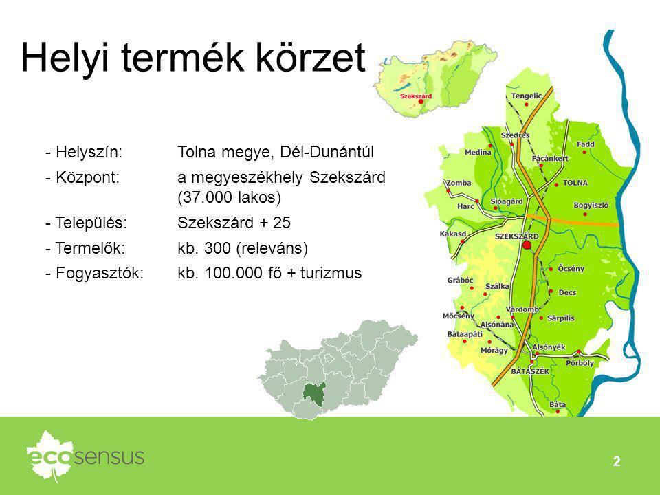 2 Helyi termék körzet - Helyszín: Tolna megye, Dél-Dunántúl - Központ: a megyeszékhely Szekszárd (37.000 lakos) - Település: Szekszárd + 25 - Termelők
