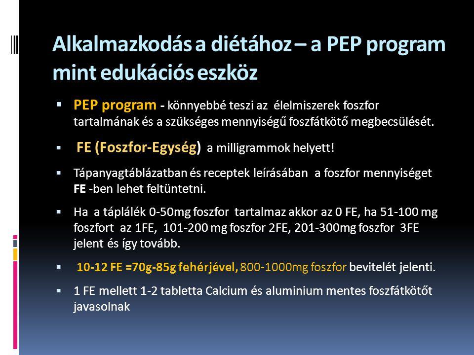 Alkalmazkodás a diétához – a PEP program mint edukációs eszköz  PEP program - könnyebbé teszi az élelmiszerek foszfor tartalmának és a szükséges mennyiségű foszfátkötő megbecsülését.