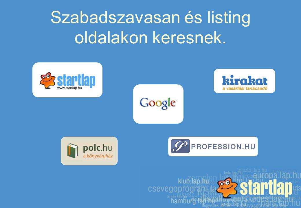Szabadszavasan és listing oldalakon keresnek.