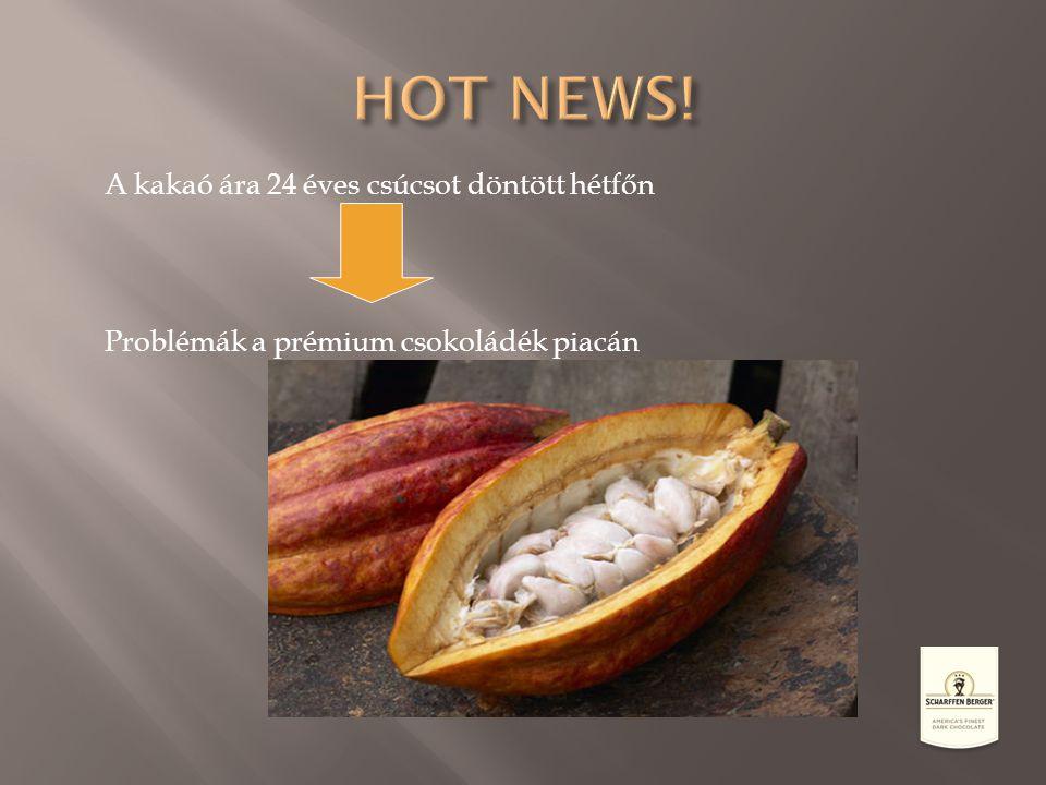 A kakaó ára 24 éves csúcsot döntött hétfőn Problémák a prémium csokoládék piacán