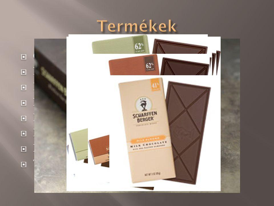  Cukormentes kakaó(99%)  Extra ét (82%)  Keserédes (70%)  Félédes (62%)  Mocha (62%)  Mentolos (62%)  Nibby bar (62%)  Tejcsokoládé (41%)  Cu