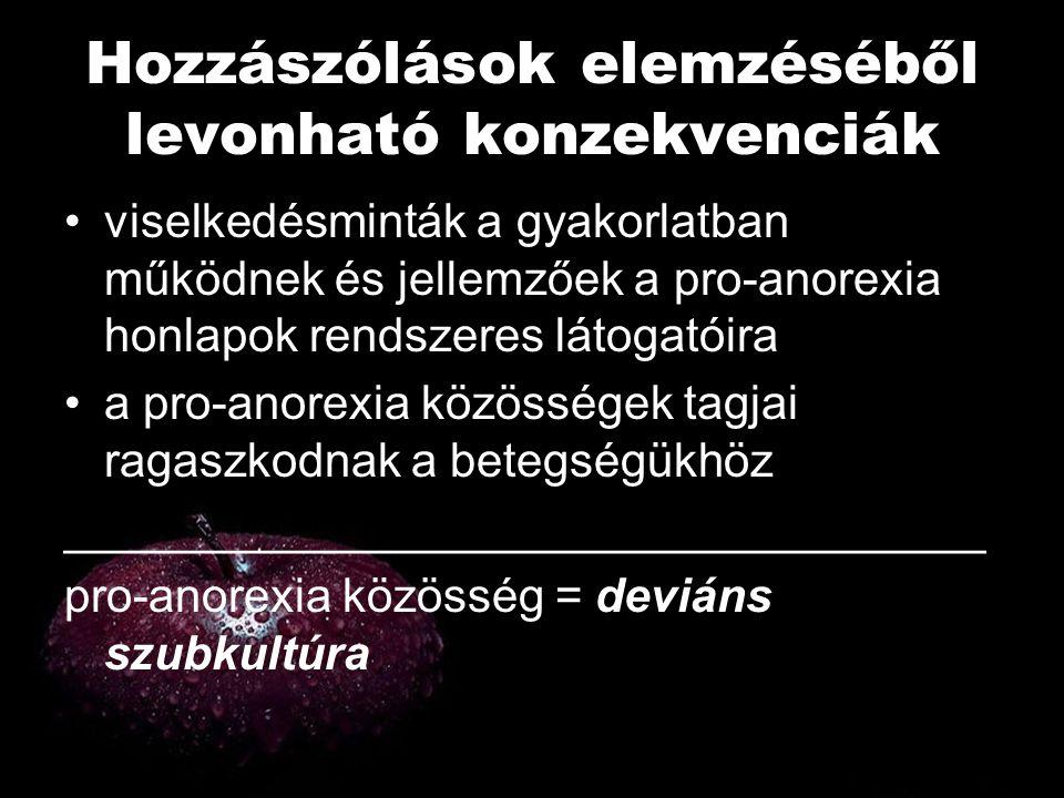 Hozzászólások elemzéséből levonható konzekvenciák •viselkedésminták a gyakorlatban működnek és jellemzőek a pro-anorexia honlapok rendszeres látogatói