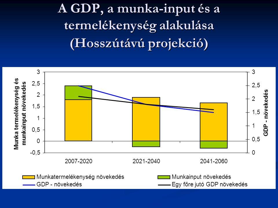 A GDP, a munka-input és a termelékenység alakulása (Hosszútávú projekció) -0,5 0 0,5 1 1,5 2 2,5 3 2007-20202021-20402041-2060 Munka termelékenység és munkainput növekedés 0 0,5 1 1,5 2 2,5 3 GDP - növekedés Munkatermelékenység növekedésMunkainput növekedés GDP - növekedésEgy főre jutó GDP növekedés