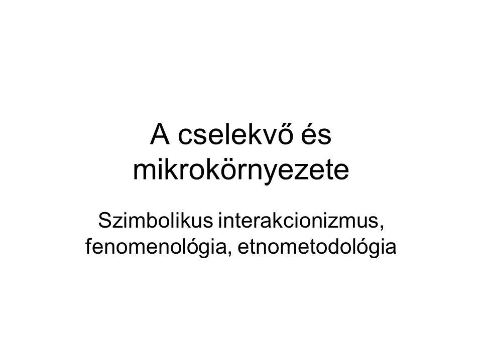 A cselekvő és mikrokörnyezete Szimbolikus interakcionizmus, fenomenológia, etnometodológia