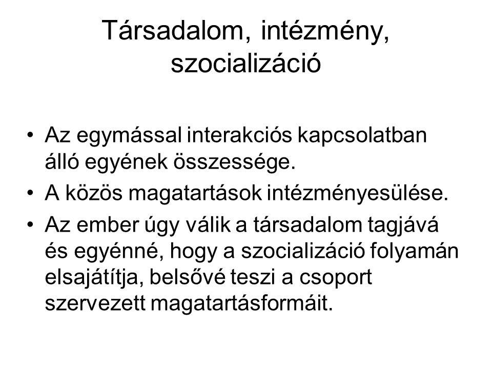 Társadalom, intézmény, szocializáció •Az egymással interakciós kapcsolatban álló egyének összessége. •A közös magatartások intézményesülése. •Az ember