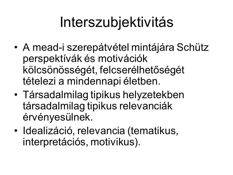 Interszubjektivitás •A mead-i szerepátvétel mintájára Schütz perspektívák és motivációk kölcsönösségét, felcserélhetőségét tételezi a mindennapi életb