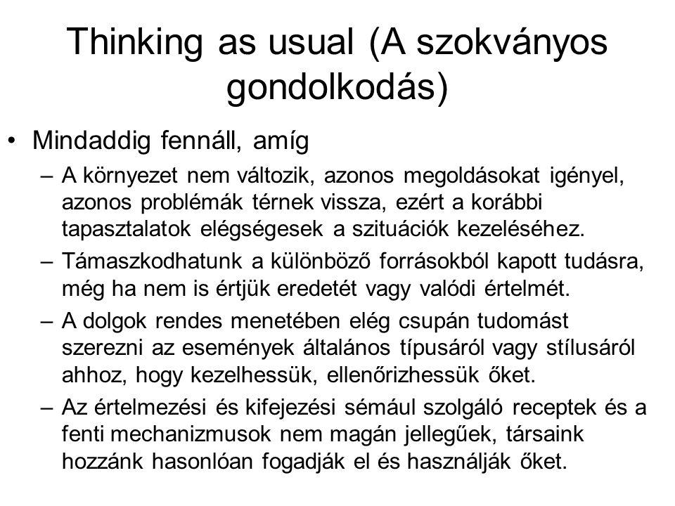 Thinking as usual (A szokványos gondolkodás) •Mindaddig fennáll, amíg –A környezet nem változik, azonos megoldásokat igényel, azonos problémák térnek