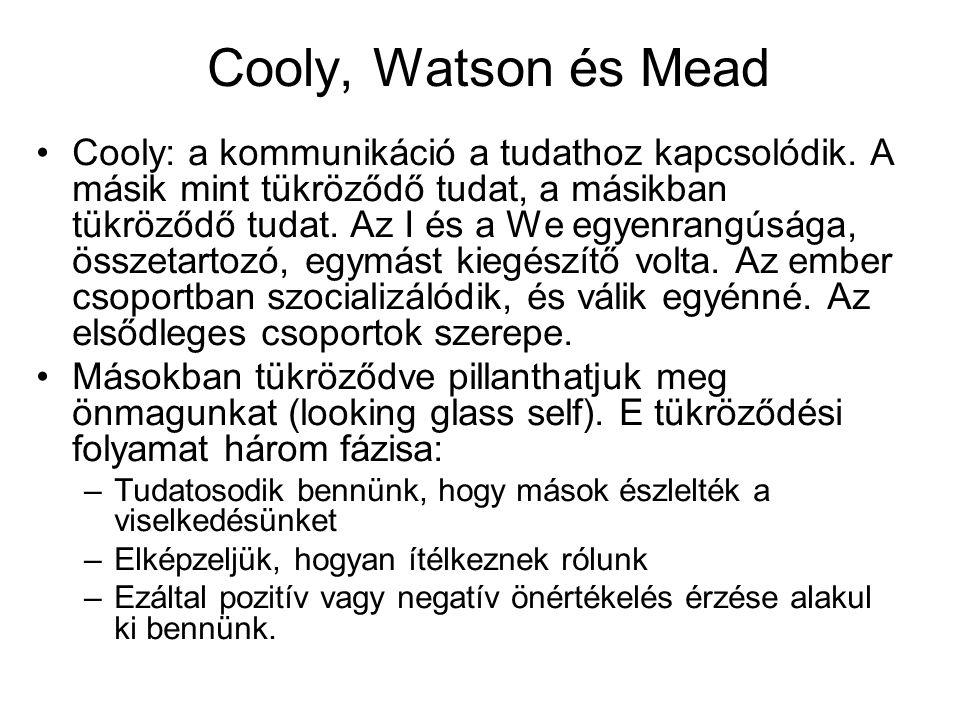 Cooly, Watson és Mead •Cooly: a kommunikáció a tudathoz kapcsolódik. A másik mint tükröződő tudat, a másikban tükröződő tudat. Az I és a We egyenrangú