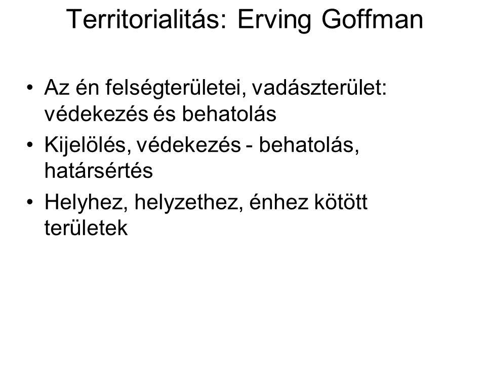 Territorialitás: Erving Goffman •Az én felségterületei, vadászterület: védekezés és behatolás •Kijelölés, védekezés - behatolás, határsértés •Helyhez,
