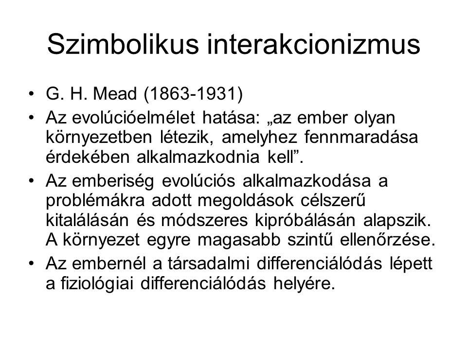 """Szimbolikus interakcionizmus •G. H. Mead (1863-1931) •Az evolúcióelmélet hatása: """"az ember olyan környezetben létezik, amelyhez fennmaradása érdekében"""