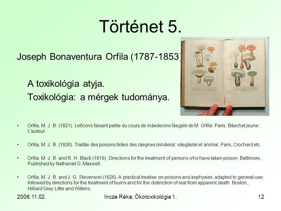 2006.11.02.Incze Réka, Ökotoxikológia 1.12 Történet 5. Joseph Bonaventura Orfila (1787-1853) A toxikológia atyja. Toxikológia: a mérgek tudománya. •Or