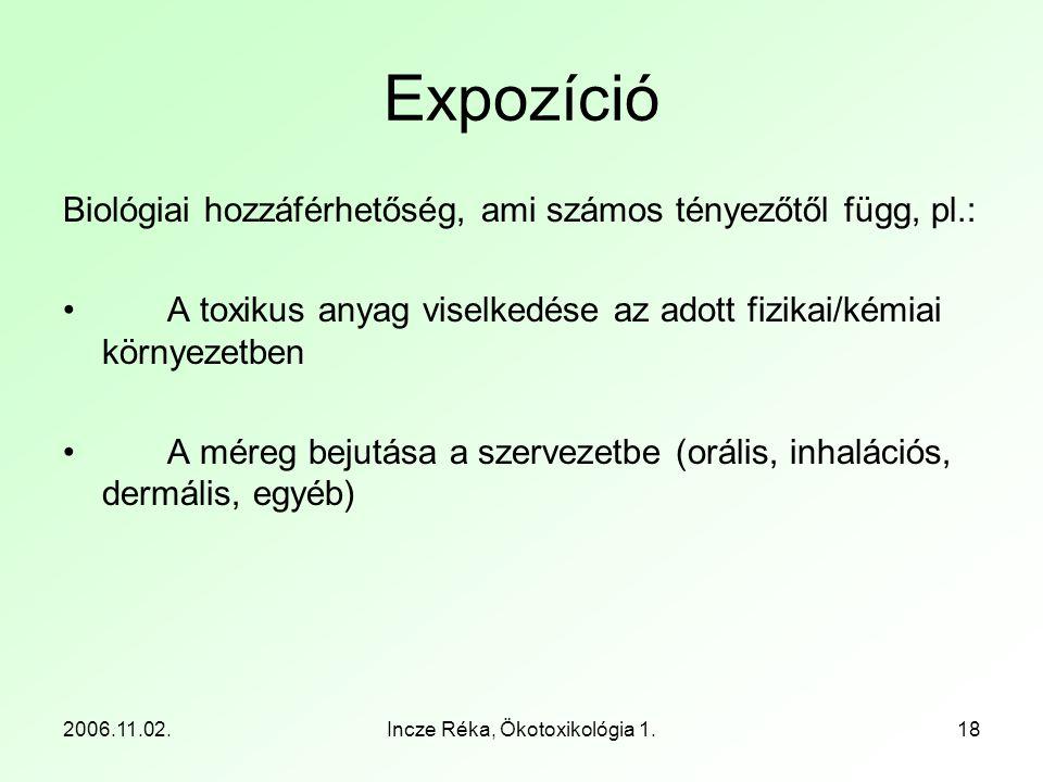 2006.11.02.Incze Réka, Ökotoxikológia 1.18 Expozíció Biológiai hozzáférhetőség, ami számos tényezőtől függ, pl.: •A toxikus anyag viselkedése az adott