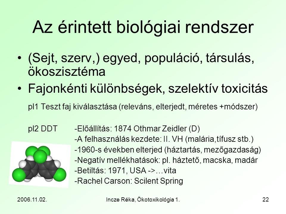 2006.11.02.Incze Réka, Ökotoxikológia 1.22 Az érintett biológiai rendszer •(Sejt, szerv,) egyed, populáció, társulás, ökoszisztéma •Fajonkénti különbs
