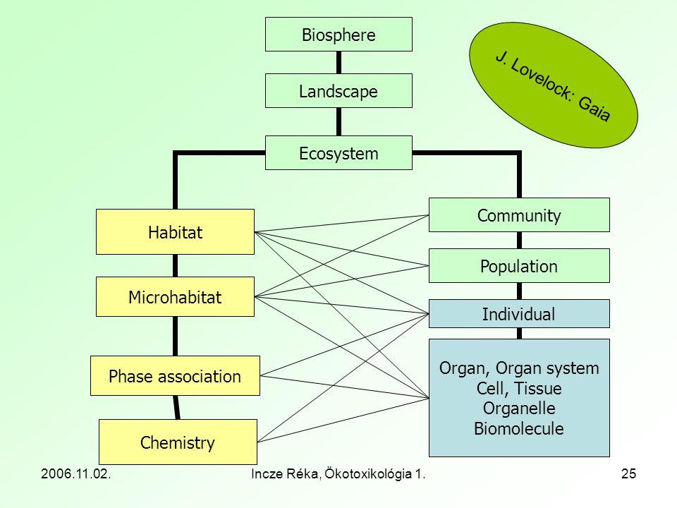 2006.11.02.Incze Réka, Ökotoxikológia 1.25 Chemistry Organ, Organ system Cell, Tissue Organelle Biomolecule Individual Population Community Phase asso