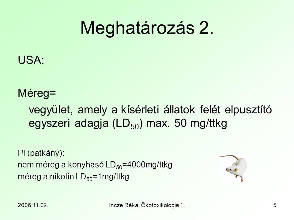 2006.11.02.Incze Réka, Ökotoxikológia 1.5 Meghatározás 2. USA: Méreg= vegyület, amely a kísérleti állatok felét elpusztító egyszeri adagja (LD 50 ) ma