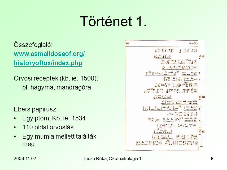 2006.11.02.Incze Réka, Ökotoxikológia 1.8 Történet 1. Összefoglaló: www.asmalldoseof.org/ historyoftox/index.php Orvosi receptek (kb. ie. 1500): pl. h
