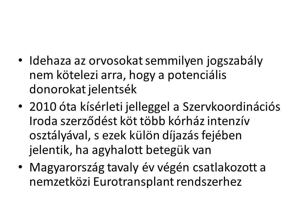 • Idehaza az orvosokat semmilyen jogszabály nem kötelezi arra, hogy a potenciális donorokat jelentsék • 2010 óta kísérleti jelleggel a Szervkoordináci