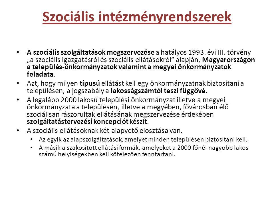 """Szociális intézményrendszerek • A szociális szolgáltatások megszervezése a hatályos 1993. évi III. törvény """"a szociális igazgatásról és szociális ellá"""